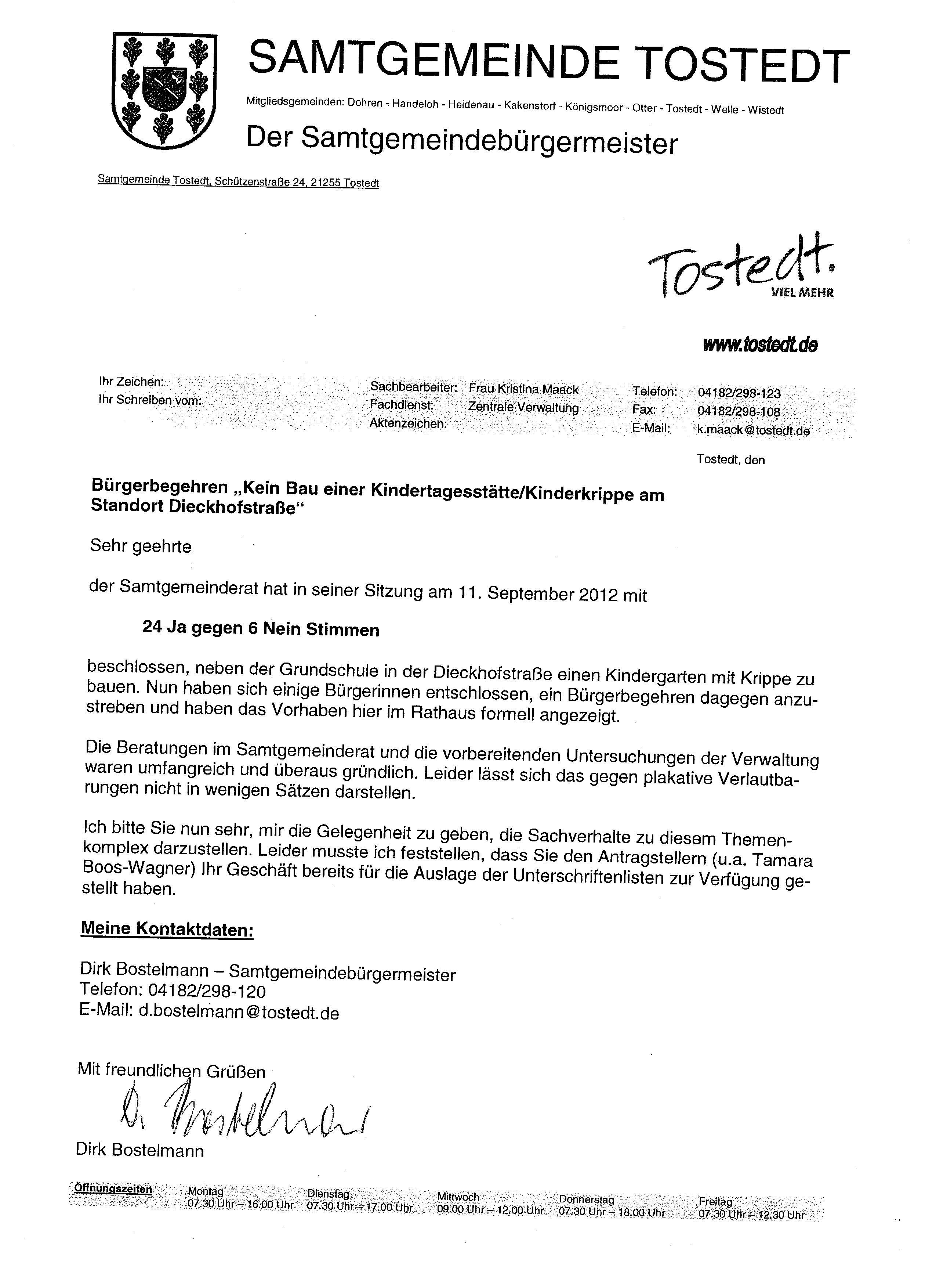 Briefe des Samtgemeindebürgermeisters | Historisches